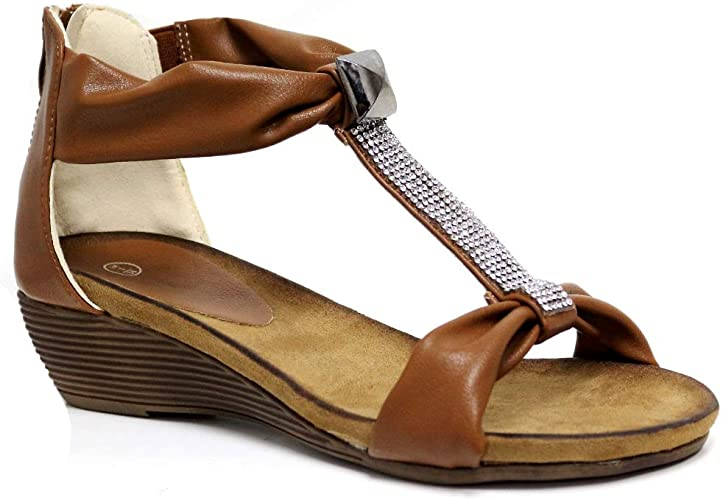 UK LADIES WOMENS FLAT COMFORT DIAMANTE SUMMER BEACH DRESS SANDALS SHOES SIZE 3-8