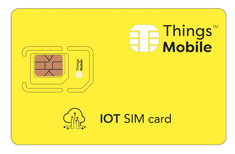 Carte SIM IOT (Internet Of Things) - Things Mobile - couverture mondiale, réseau multi-opérateur GSM/2G/3G/4G LTE, sans coûts fixes, sans échéance avec des tarifs compétitifs. 10 € de crédit inclus