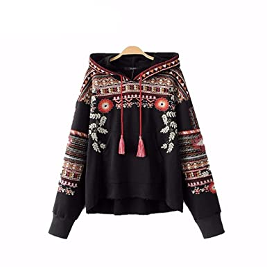 Virtual Store USA Vintage totem geometric embroidery hooded sweatshirt oversized sequined long sleeve pullover casual tops