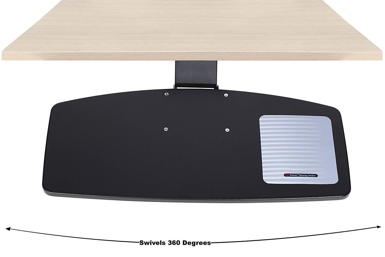 Adjustable Under Desk Keyboard Tray by NYCCO, Water-Resistant Platform, 17-inch Track Knob Adjust - Black by NYCCO (Image #2)
