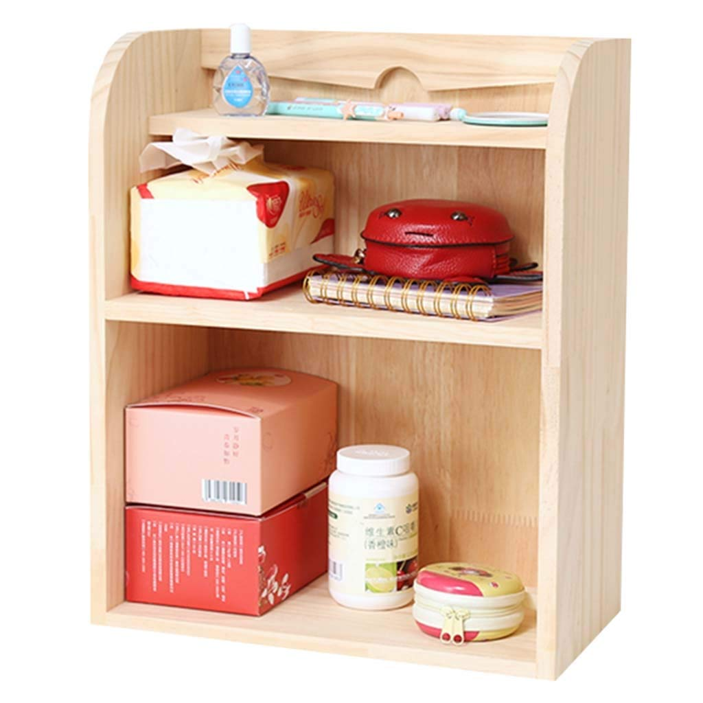 Book Accessories Double Storage Rack Small Rack Mini Table Small Bookshelf Bay Window Simple Desktop (Color : Brown, Size : 32.51740cm) by Book Stands