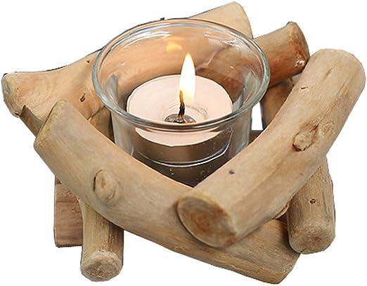 Hand Made Wooden Tealight Log Candle Holder Tea Light Oak Wood Home Party Decor