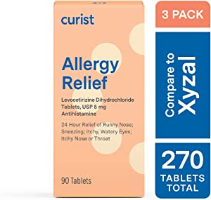 Curist Generic Xyzal (Levocetirizine dihydrochloride Tablets) 5 mg (3 Pack) - 270 Tablets, Allergy Pills, 24 Hour Allergy Relief - Allergy Medicine for: Pollen, Allergy, Hives, and More.