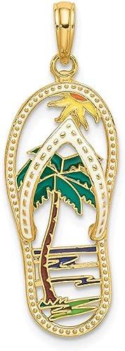 FB Jewels 14K Yellow Gold Palm Tree Pendant 2D