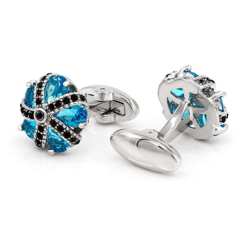 Kemstone Blue Cubic Zirconia Crystal Cufflinks Black Enamel Jewelry by Kemstone (Image #1)