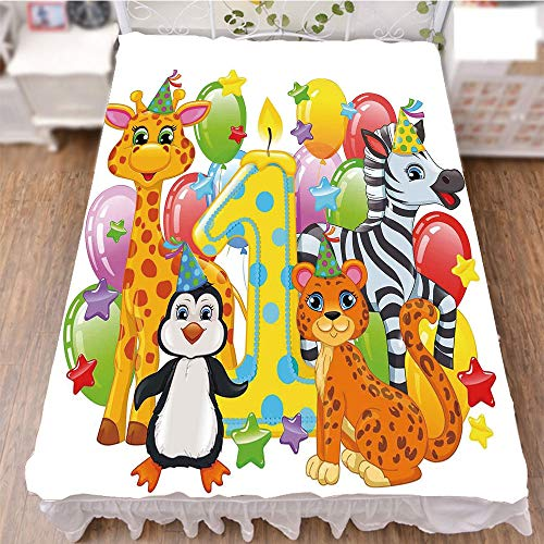iPrint Bed Skirt Cover 3D Print,Party with Baby Safari Animals Zebra Lion Balloons,Best Modern Style Bed Skirt for Men and Women by 70.9