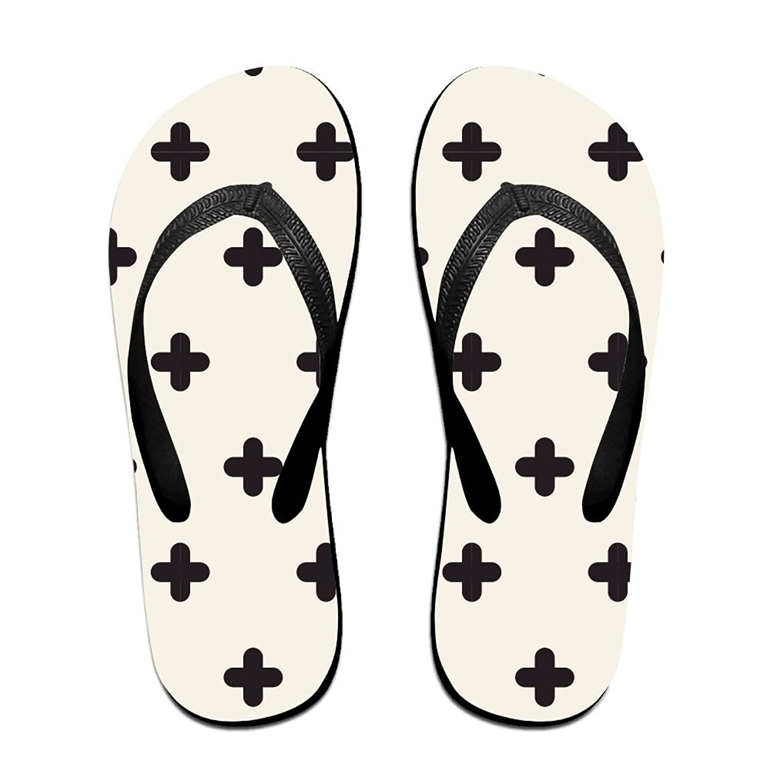 c2990f5a14a96 chic Black And White Geometric Patterns 1 Summer Strap Flip Flops ...