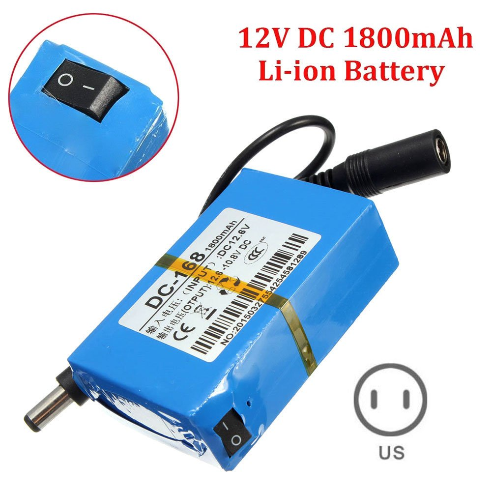 Adealink Portable Mini DC-168 12V Rechargeable 1800mAh Li-ion Battery Pack for CCTV Camera