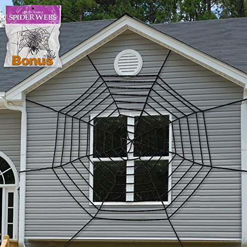 Pawliss Giant Spider Web With Super Stretch Cobweb Set  Halloween Decor Decorations Outdoor Yard  Round Dia  9 Feet  Black