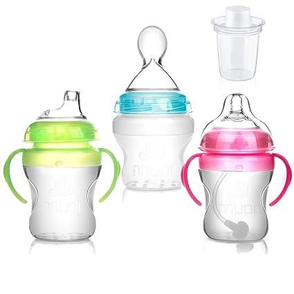 mumlove 3 unidades silicona botellas con silicona Squeeze cuchara, boquilla de silicona, silicona pezón