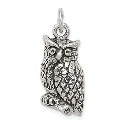 a68cc71abc0b8 Image Unavailable. Image not available for. Color: 925 Sterling Silver  Textured Perched Owl Pendant Charm Necklace Bird Fine Jewelry Gifts For  Women For