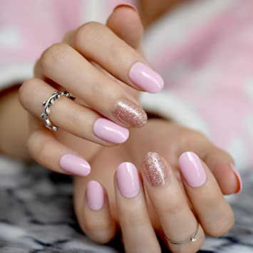 Amazon.com  Sparkly Candy Pink False Nails With Glitter