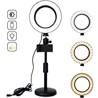 "Ring Light 6"" Selfie Light with Stand & Cell Phone Holder and 3 Light Modes 10 Brightness Level USB LED Ring Light with…"