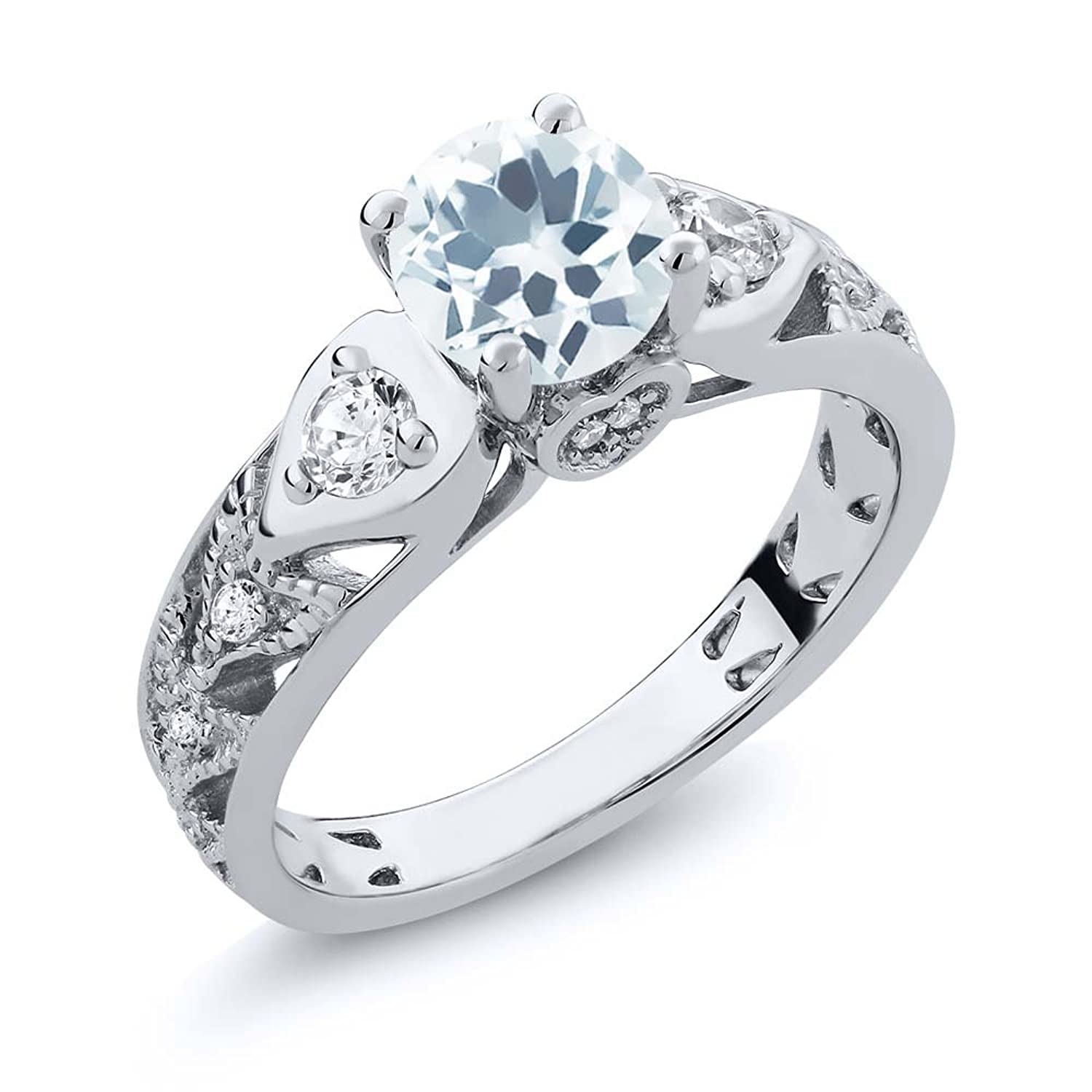 Sterling Silver Round Cut Natural Sky Blue Aquamarine Women's Engagement Ring (2.01 cttw, Available in size 5, 6, 7, 8, 9)