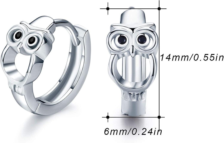 925 Sterling Silver Pink Owl on Endless Hoop Earrings 28042