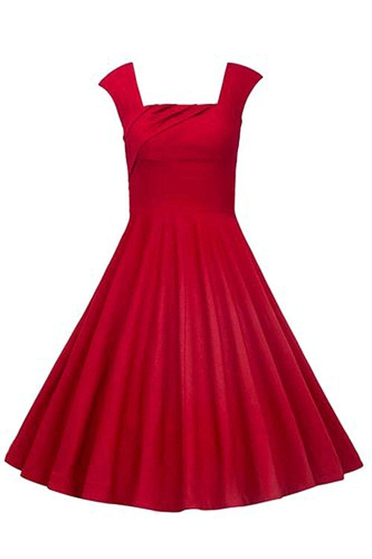 f9a7eeac2b8e7 KILOLONE Women Sexy 50s Swing Vintage Retro Housewife Rockabilly Evening  Party Dress Red UK16: Amazon.co.uk: Clothing