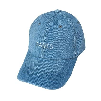 Gorra de béisbol de Tianya, Unisex con bordado de letras PARIS, gorra tela vaquera