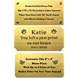 "Size: 4"" W x 2"" H, Personalized, Custom Engraved, Brushed Gold Solid Brass Plate Picture Frame Name Label Art Tag for Frames,"
