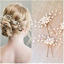 SUMAJU Wedding Hair Pins Set, 2 Pack of Bride Crystal Rhinestone Hair Pins, Hair Jewelry Hair Accessories for Women Bridal Wedding, Mother's Day Gift.Silver