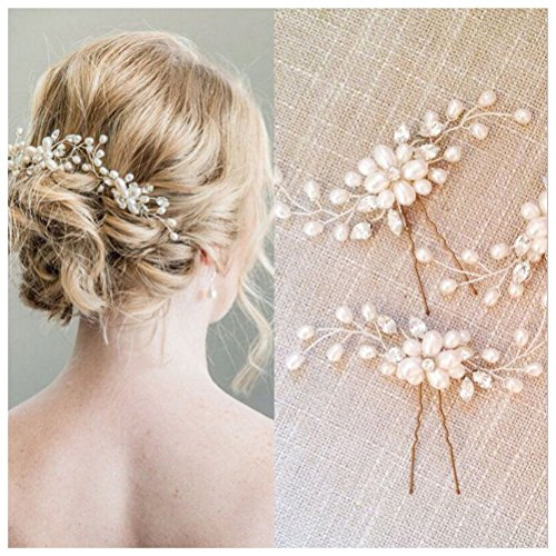 SUMAJU Wedding Hair Pins Set, 2 Pack of Bride Crystal Rhines
