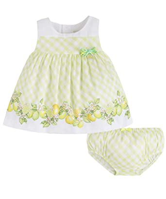 a73bfb17b1a63 Mayoral Newborn Baby Girls 0M-12M Green/White Striped Cistrus Border Cotton  Social Dress