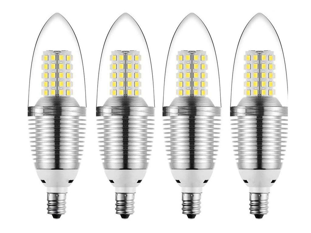 JKLcom E12 LED Candelabra Bulb 12W LED Candle Bulbs,90-100W Light Bulbs Equivalent,E12 Candelabra Base,Daylight White 6000K,Non-Dimmable,Torpedo Shape,Pack of 4