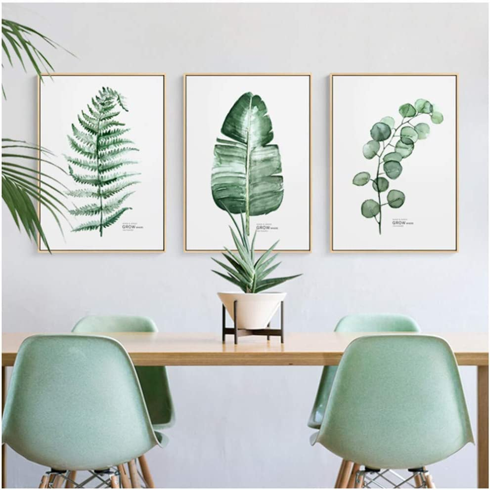 Estilo Plantas verdes Cactus Tríptico Pinturas sobre lienzo Cuadros de pared para sala de estar Carteles e impresiones Hogar -50x70cm Sin marco