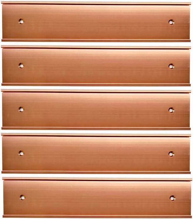 "Name Plate Wall Or Door Holder, Office Business Door Sign Holder,-5Pack (Rose Gold, 2"" × 8"")"