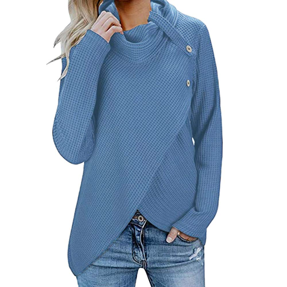 YOcheerful Women Turtleneck Top Womens Long Sleeve Pullover Button Cowl Neck Tunic Sweatshirt Solid Top Blouse best seller