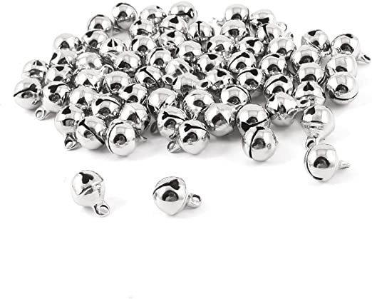 Dealglad New 100pcs Jingle Small Bells Christmas Xams Wedding Decoration Beads Jewelry Findings Charms Silver, 12mm