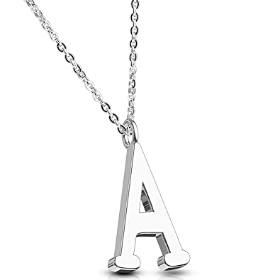 b3715e80db485 BodyJ4You Necklace Initial Letter Pendant Her Name A Women Girl Silvertone  Charm Gift Jewelry