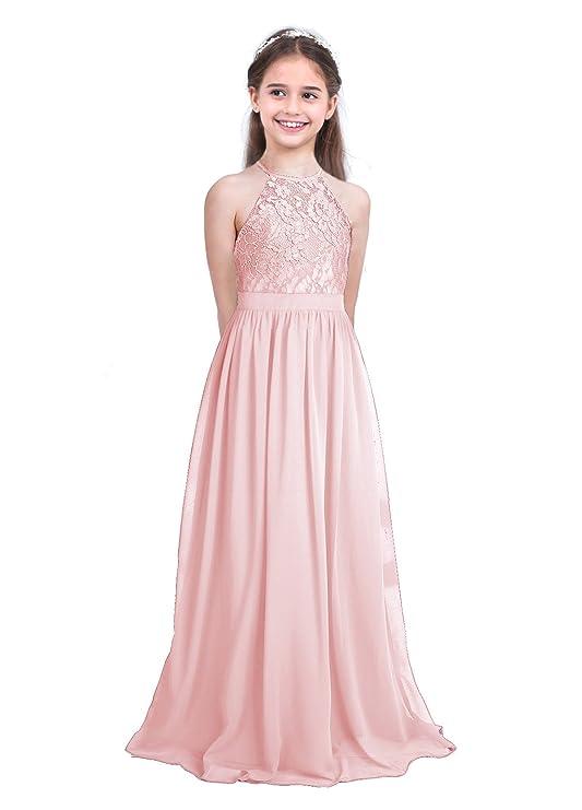 inlzdz Vestido Largo de Fiesta para Niñas Vestido de Gala Top ...