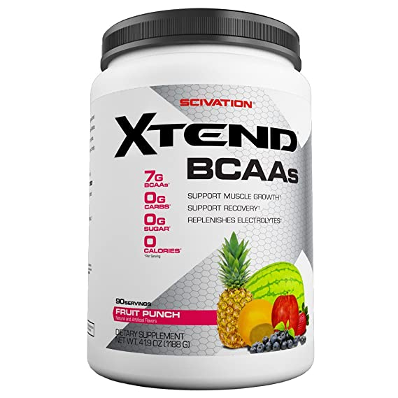 Scivation Xtend BCAAs (Pre-Workout, 7g BCAAs, 0g Carbs,Sugar & Calories, 3.5 Leucine, 2.5g L-Glutamine, 1g Citrulline Malate) -1.2 kg, 90 Servings (Fruit Punch) BCAAs at amazon