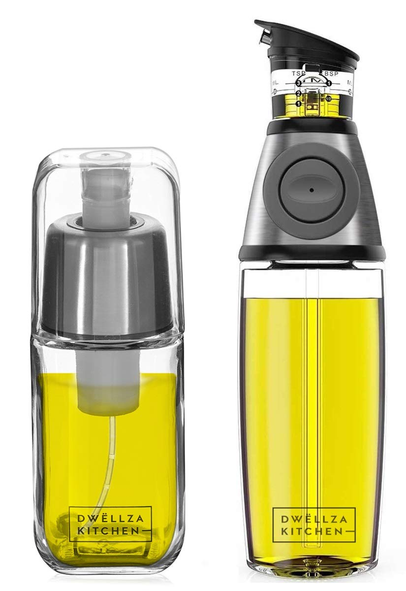 DWËLLZA KITCHEN Olive Oil Dispenser and Oil Sprayer for Cooking Set - Premium Oil Mister Sprayer 6 OZ and Glass Oil Bottle 17 OZ with Measurements and Drip-Free Spout Stainless Steel by DWËLLZA KITCHEN