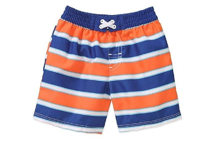 d6f48f34fa581 OP Little Toddler Boys Orange Blue Striped Swim Shorts Trunks (0-3 Months)