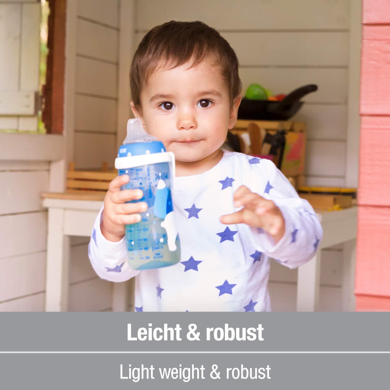 Blau 12+ Monate auslaufsicher Boy mit Clip BPA frei mit Soft-Trinkt/ülle aus Silikon 300ml NUK Active Cup Trinklernflasche Kinder