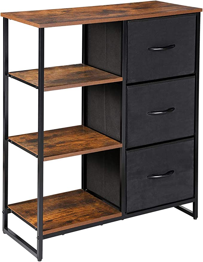 Rustic Brown Kamiler 7 Drawers Dresser-Furniture Storage Unit,Bedroom Chest Organization-Closet for Clothes,Wood Top,Easy Pull Fabric Bins,Anti-Tip Kit
