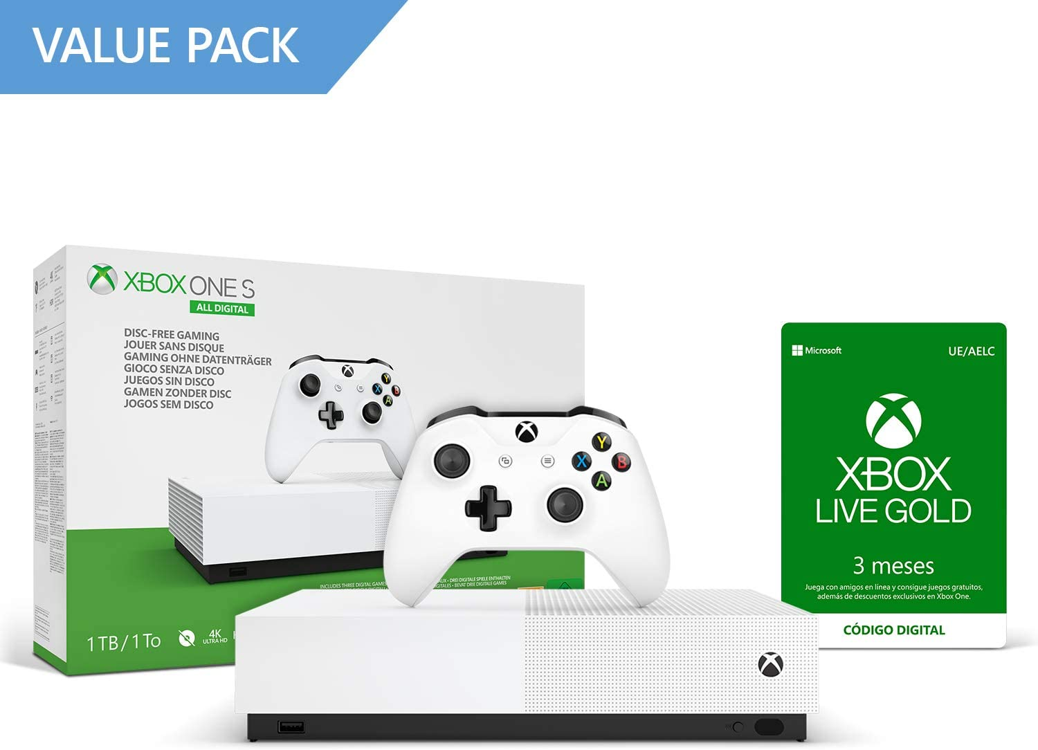 Microsoft Xbox One S All Digital - Consola de 1 TB, color blanco + 4 mes de Xbox Live Gold, 1 mando blanco, Forza Horizon 3 (juego digital), Minecraft (juego digital ...