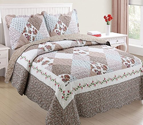 Ramano Collections 2 Piece Soft & Luxury Reversible Quilt Set | Beach Brown Patchwork Design - Twin Size
