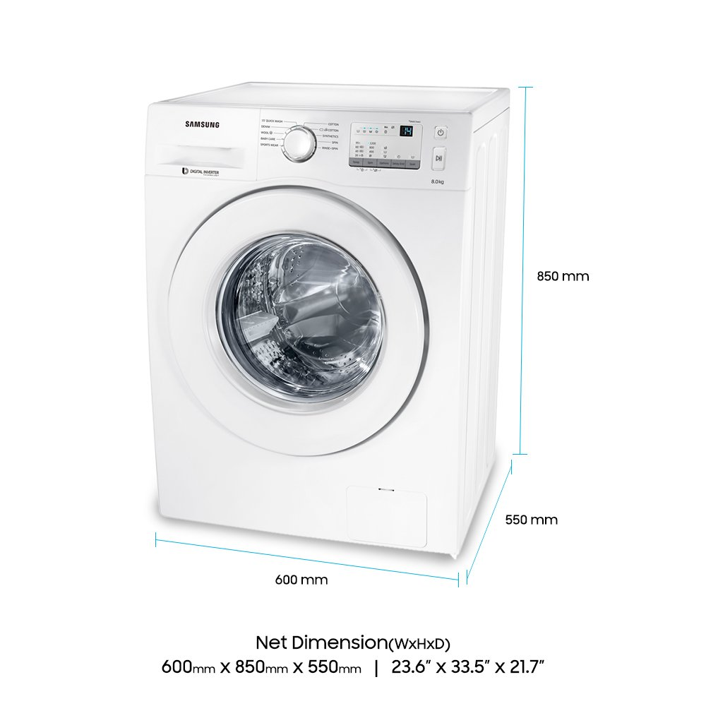 Samsung 8 Kg Fully Automatic Front Loading Washing Machine Ww80j3237kw Tl White