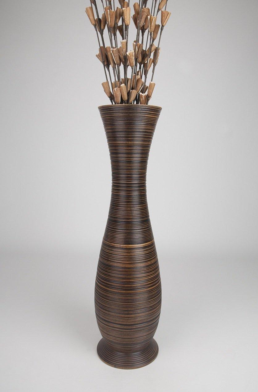 Thai Handmade Tall Floor Vase , Wood, Brown, 10''L x 10''W x 36''H.