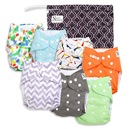 Unisex Baby Cloth Pocket Diapers 7 Pack, 7 Bamboo Inserts, 1 Wet Bag by Nora