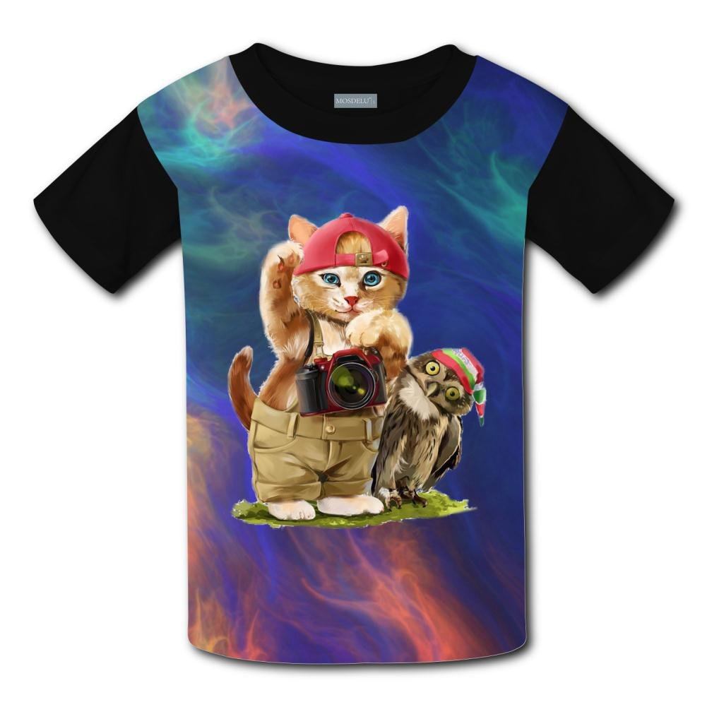 Elcacf Kids//Youth Travel Cat with Owl T-Shirts Short Sleeve Children Tees