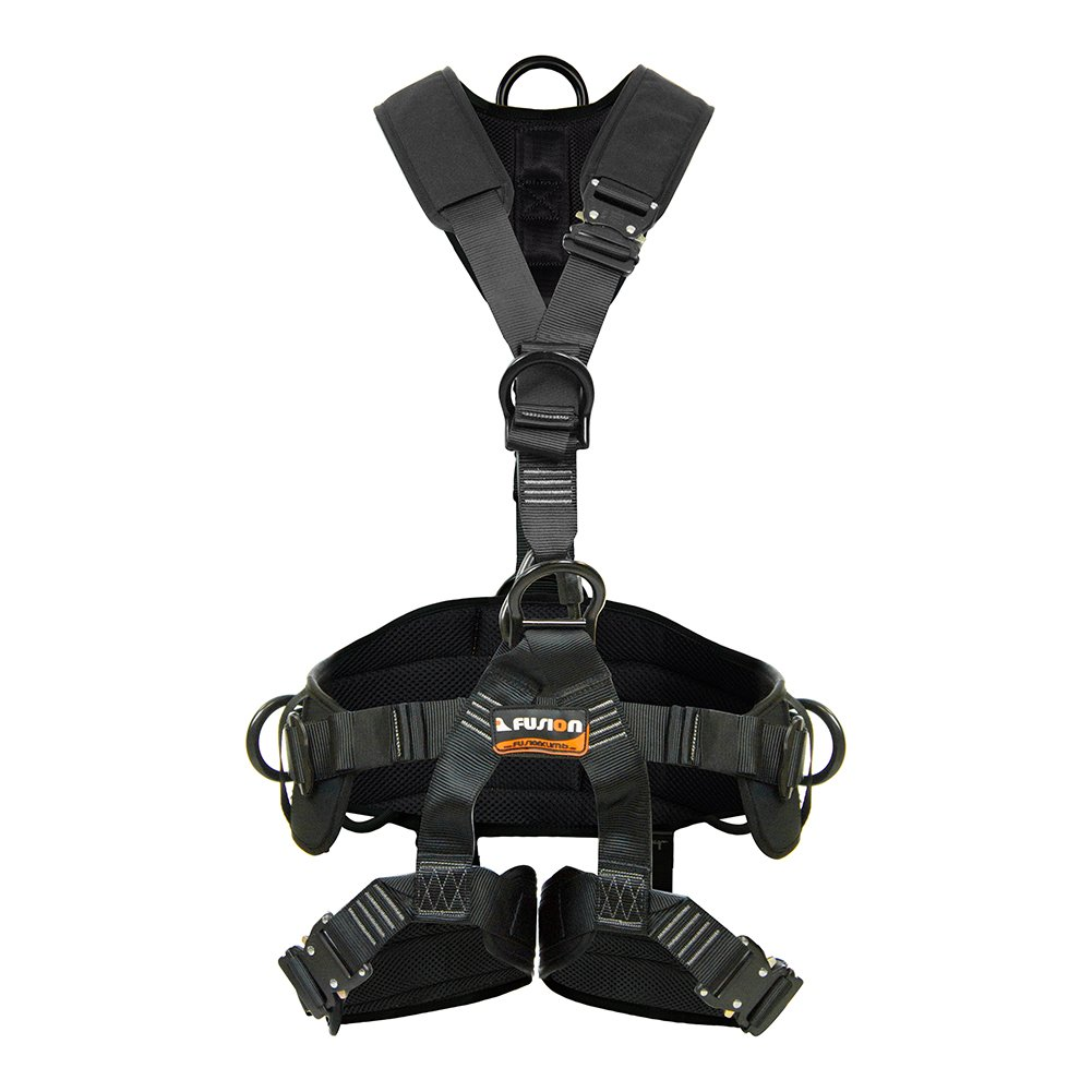 Fusion Climb Tac Rescue Tactical Full Body EVA Padded Heavy Duty Adjustable Zipline Harness 23kN L-XL Black