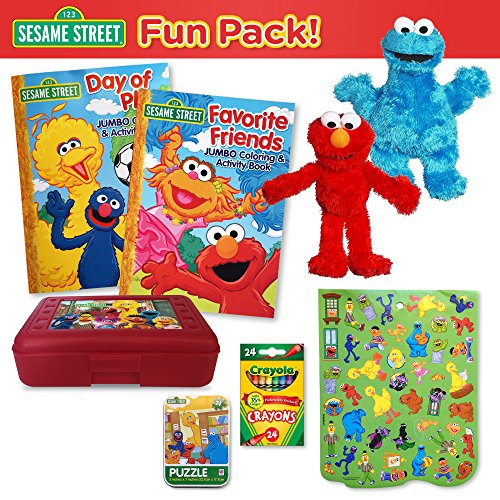 sesame-street-fun-pack-9-elmo-and-cookie-monster-plushes-2-sesame-street-coloring-books-24-ct-crayol