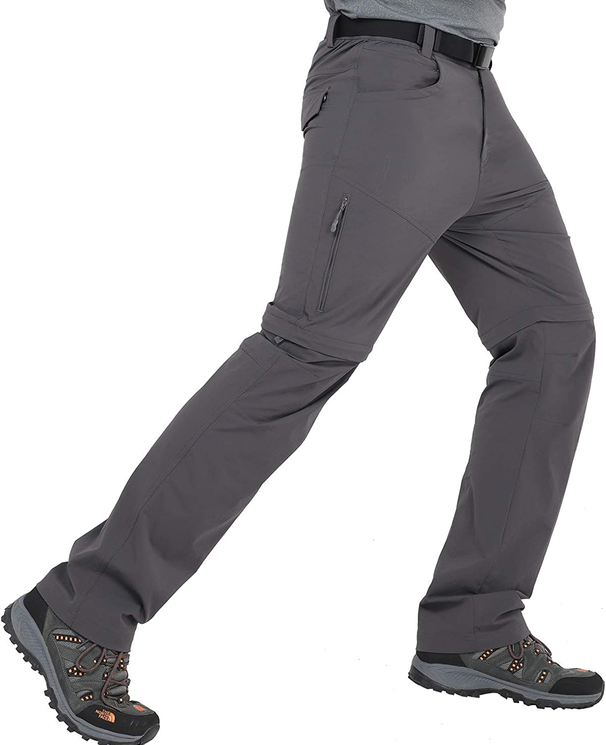 MIER Men's Convertible Quick Dry Hiking Pants Outdoor Nylon Travel Pants with 6 Pockets, Stretchy and Water Resistant