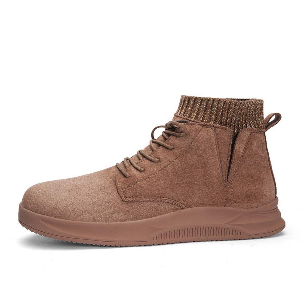 Herrenschuhe Trendy Martin Stiefel Britisch Herren Mid-Snow Stiefel Lazy Stiefel Stiefel Geeignet für Four Seasons Wear Khaki,40