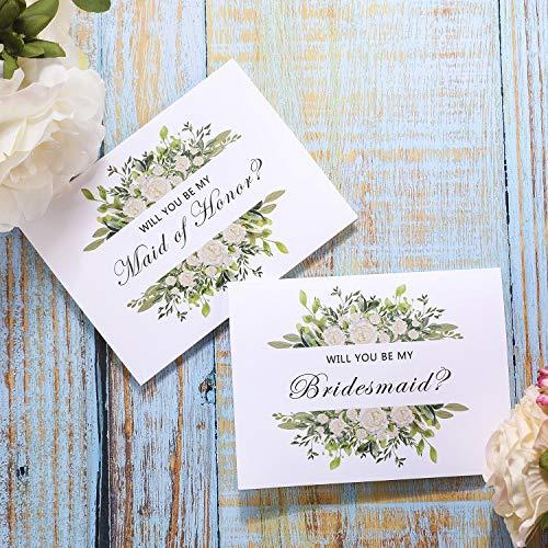 Bridesmaid Invitation Card - Bridesmaid Proposal Cards, 8 Will You Be My Bridesmaid Cards and 2 Maid of Honor Cards, Bridal Party Cards, US-AKI-33