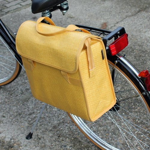 FastRider Fahrradtasche Einkaufstasche Rattan-Look 39x37x16cm Pinie