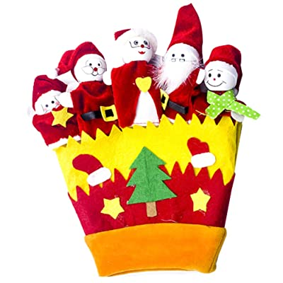 Amosfun Christmas Finger Puppet Set Santa Claus Snowman Animal Hand Puppets Christmas Party Favors Gifts Xmas Stocking Stuffers for Kids Adults (Yellow): Health & Personal Care
